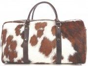 Elegantní Velká kožená taška XXL Made in Italy bílá a hnědá