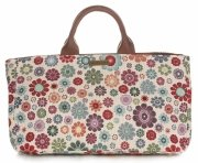Univerzální kožená italská kabelka Vittoria Gotti květiny béžová/multicolor
