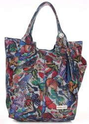 Skórzany Shopper Bag VITTORIA GOTTI Made in Italy w Motyle Multikolor - Niebieska
