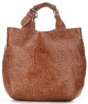 Torebki Skórzane Genuine Leather Ponadczasowy ShopprBag z Kosmetyczką Ruda