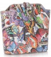 Listonoszki Skórzane Vittoria Gotti w Motyle Multikolor Szara