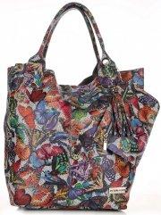 Skórzany Shopper Bag VITTORIA GOTTI Made in Italy w Motyle Multikolor - Szara