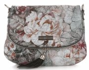 Modna Listonoszka Skórzana Vittoria Gotti w Kwiaty Multikolor Czarna
