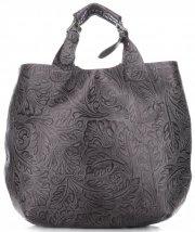 Torebki Skórzane Genuine Leather Ponadczasowy ShopprBag z Kosmetyczką Szara