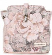 Listonoszki Skórzane Vittoria Gotti w Kwiaty Multikolor Różowa