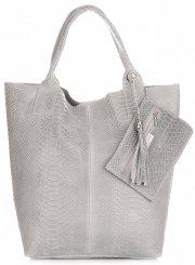 Włoskie Torebki skórzane typu Shopper bag Aligator Jasno Szara