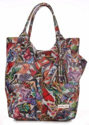 Skórzany Shopper Bag VITTORIA GOTTI Made in Italy w Motyle Multikolor - Ziemista
