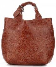 Torebki Skórzane Genuine Leather Ponadczasowy ShopprBag z Kosmetyczką Brązowa