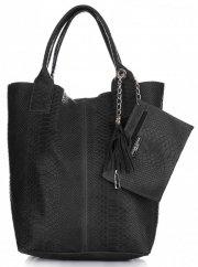Włoskie Torebki skórzane typu Shopper bag Aligator Czarna