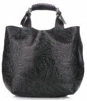 Torebki Skórzane Genuine Leather Ponadczasowy ShopprBag z Kosmetyczką Butelkowa Zieleń