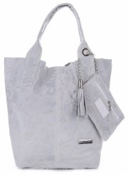 VITTORIA GOTTI Made in Italy Torebka Skórzana Shopperbag w Tłoczone Wzory Jasno Szara