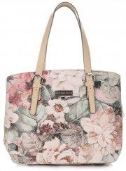 Torebka Skórzana Kuferek Vittoria Gotti w Kwiaty Multikolorowa Beżowa