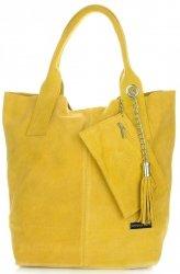 Vittoria Gotti Torebki Skórzane Typu ShopperBag XL Zamsz Naturalny Wysokiej Jakości Żółta