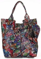 Kožené Kabelky VITTORIA GOTI Made in Italy Shopperbag Butterfly Multicolor - Černá