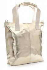 Módní kožená kabelka - italská Shopper bag zlatá