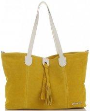 7f6a1d7bd8457 Torebka Skórzana marki Vittoria Gotti Modny Shopper Made in Italy Żółta