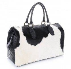 Kabelka Kožený Kufr Made in Italy černobílý