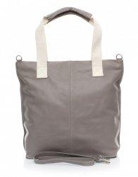 Módní kožená kabelka  - italská Shopper bag šedá