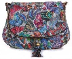 Módní kožená kabelka listonoška Buterfly Barevné Černá