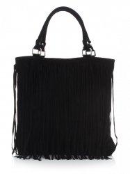 Módní kožená kabelka přírodní semiš černá