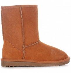 Kožené Dámské boty sněhule zrzavy