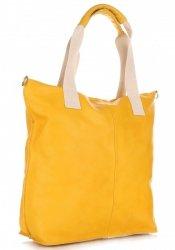 Módní kožená kabelka  - italská Shopper bag Žlutá