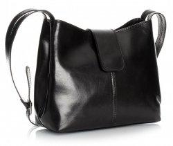 Kožené kabelky z usně 2 přihrádky černá