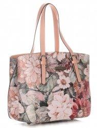 Torebka Skórzana Kuferek Vittoria Gotti w Kwiaty Multikolorowa Różowa