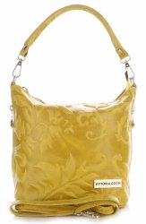 VITTORIA GOTTI Made in Italy Torebka Listonoszka Skórzana w Tłoczone Wzory Żółta