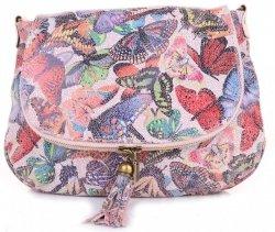 Modna Listonoszka Skórzana w Motyle Multikolor Różówa