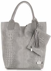 Torebki Skórzane VITTORIA GOTTI Made in Italy Shopper bag Aligator Jasno Szara