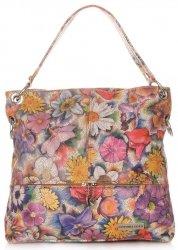 Uniwersalne Torebki Skórzane Vittoria Gotti we Wzory Kwiatów Multikolorowe Ruda