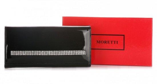 Duży Portfel Damski Skórzany z Kryształkami Moretti Czarny