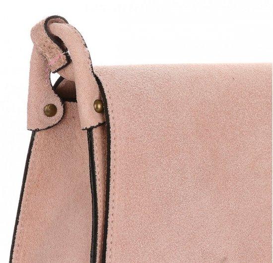 Listonoszka Skórzana Genuine Leather Pudrowy Róż