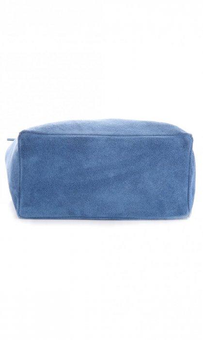 Modna Torba Skórzana ShopperBag z Etui Niebieska - Jeans