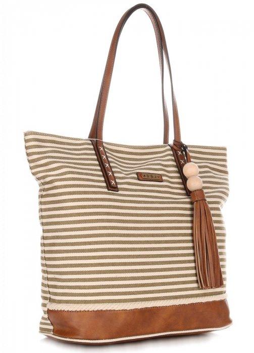 Duża Torba Damska David Jones Typu Shopper Bag XXL Beżowa/Zielona