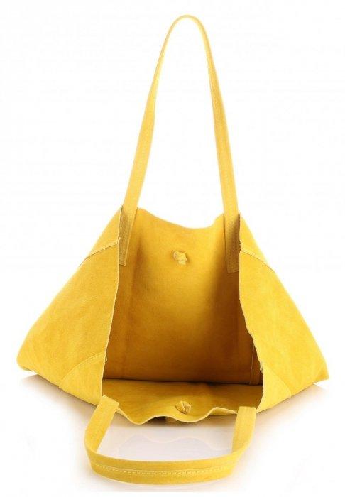 Modna Torba Skórzana ShopperBag z Etui Żółta