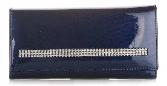 Duży Portfel Damski Skórzany z Kryształkami Moretti Granat