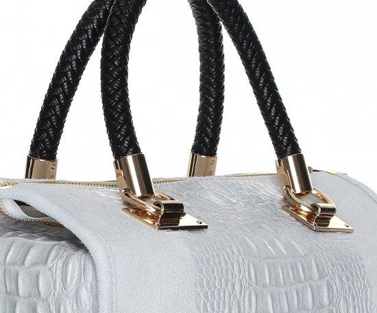 Elegancki kufer skórzany Aligator Jasno Szary