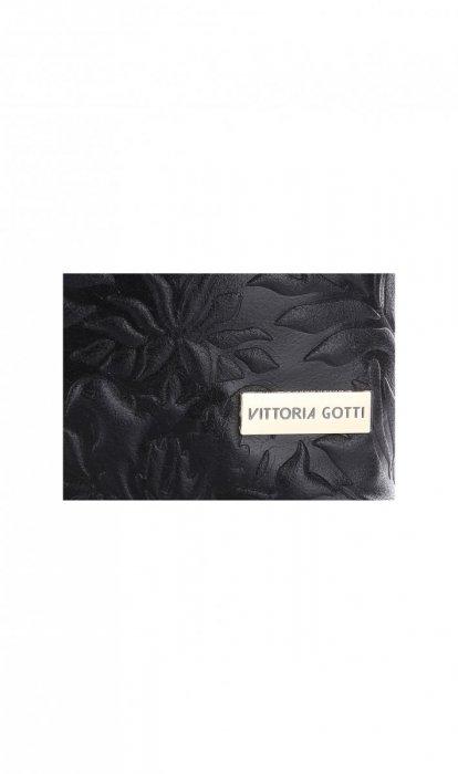 VITTORIA GOTTI Made in Italy Torebka Listonoszka Skórzana w Tłoczone Wzory Czarna