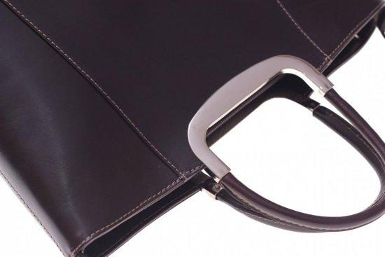 Skórzany kuferek do Ręki z długim paskiem Czekolada