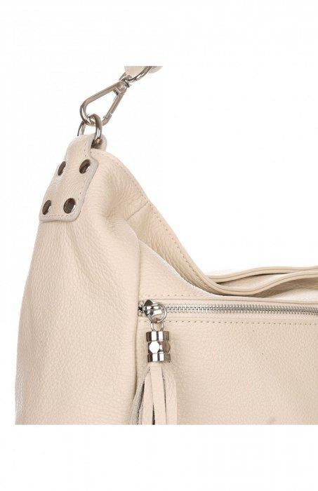 Uniwersalna Torebka Skórzana Genuine Leather Beżowa