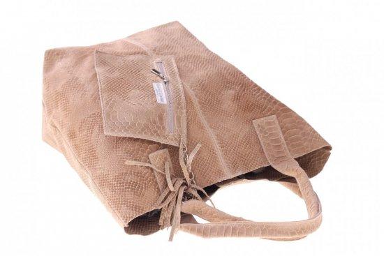 Włoskie Torebki skórzane typu Shopper bag Beżowa