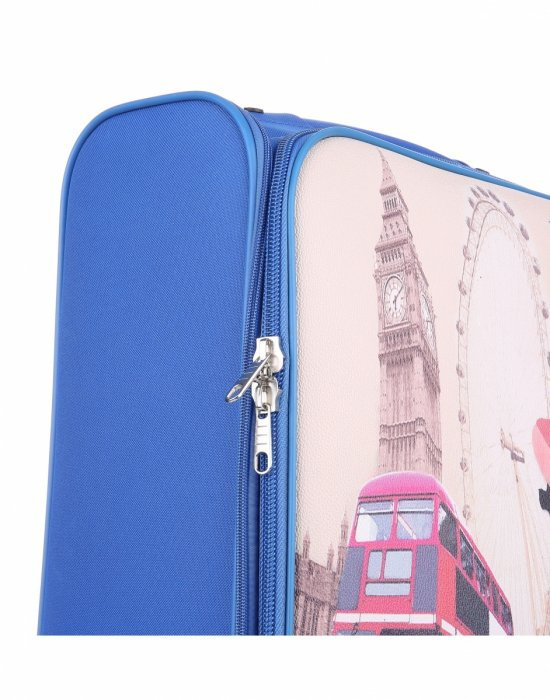 Walizka Kabinówka Włokiej Firmy Or&Mi 2 kółka Niebieska London