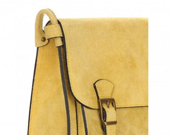 Torebki Listonoszki Skórzane Genuine Leather Żółta