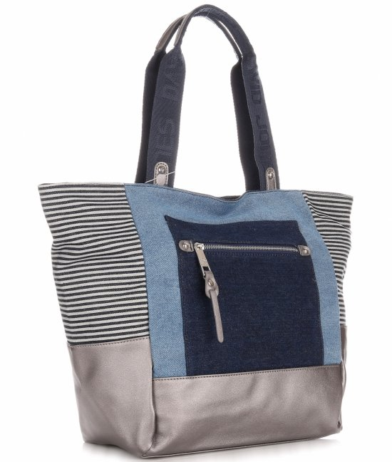 Torba Damska David Jones typu Shopper Bag XXL Jeansowa