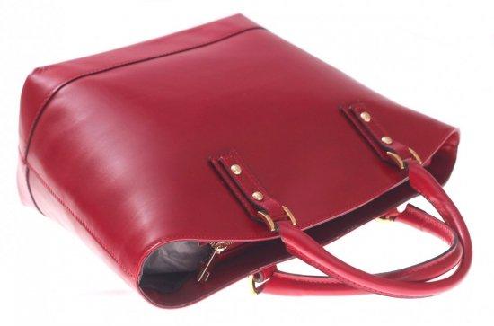 Modne Torebki skórzane typu Shopper bag łódka Czerwona