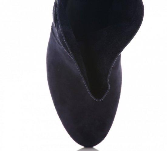 Skórzane Botki Damskie Granatowe