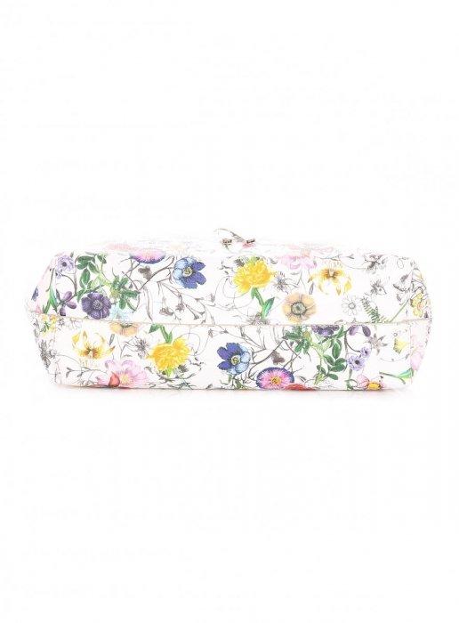 Dwustronna Torba Damska XL David Jones w Kwiaty z Kosmetyczką Szara