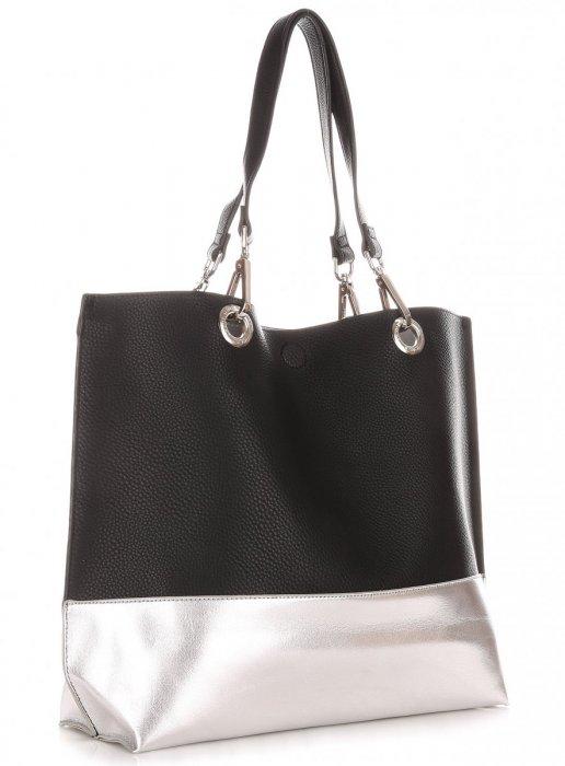 Modna Torba Damska David Jones Typu Shopper Bag XL z Etui Czarna
